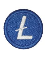 Blue Litecoin logo patch from FOMO LLAMA. 42mm in size. About 1.5in