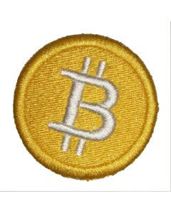 Bitcoin logo patch from FOMO LLAMA. 42mm in size