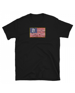 Black Bitcoin t-shirt with Bitcoin logo in the American flag design.