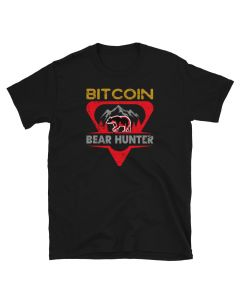 Black Bitcoin shirt by FOMO LLAMA with Bitcoin Bear Hunter design. Available at www.FomoLlama.com