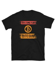 Black Bitcoin T-shirt with It's time for Bitcoin design