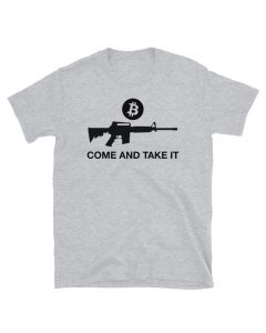Bitcoin T-shirt design with Bitcoin logo, AR-15, and Come And Take It Saying
