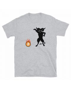 Grey Bitcoin T-shirt with vintage demon setting a Bitcoin on fire