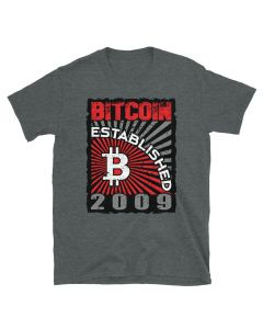 Heather Bitcoin t-shirt designed by FOMO LLAMA, with Bitcoin Established 2009 saying